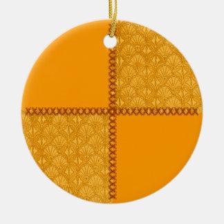 Vintage Scrap Old Gold Patchwork Round Ornament