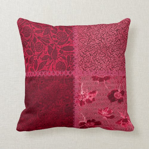 Vintage Scrap Patchwork Red Pillow