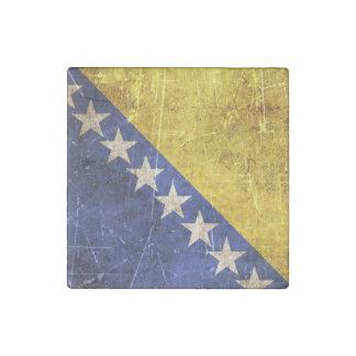 Vintage Scratched Flag of Bosnia-Herzegovina Stone Magnet