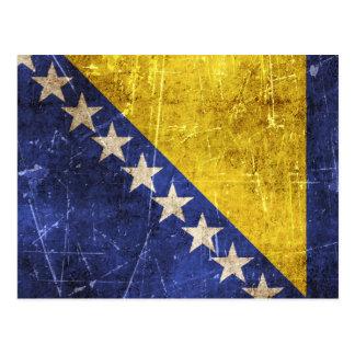 Vintage Scratched Flag of Bosnia-Herzegovina Postcard