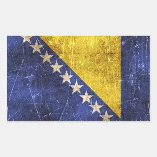 Vintage Scratched Flag of Bosnia-Herzegovina Rectangular Sticker