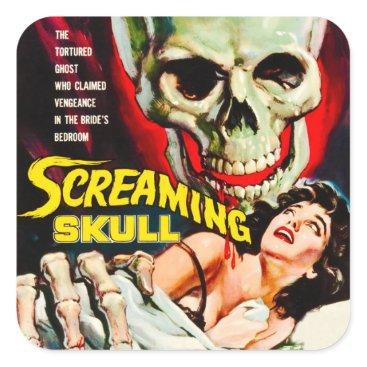 "Vintage_Halloween Vintage ""Screaming Skull"" Movie Film Box Square Sticker"