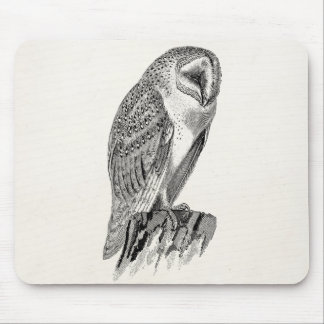 Vintage Screech Owl Bird Illustration Template Mouse Pad
