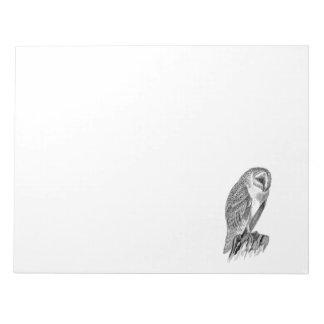 Vintage Screech Owl Bird Illustration Template Notepad