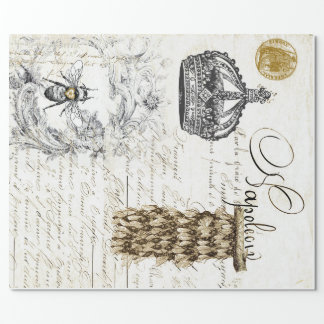 Vintage Script Bee Wrapping Paper