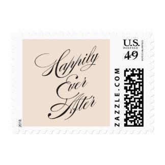 Vintage Script Happily Ever After in Blush Postage Stamp