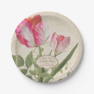 Vintage Script Parrot Tulip Art Pink Bridal Shower Paper Plate