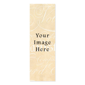 Vintage Script Text Tan Parchment Paper Background Double-Sided Mini Business Cards (Pack Of 20)
