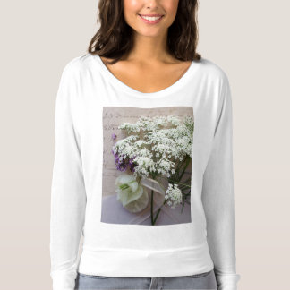 Vintage script with white flowers t-shirt