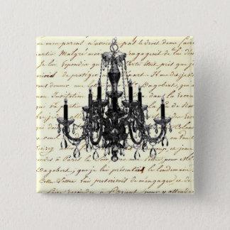 vintage scripts paris chandelier wedding pinback button