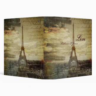 vintage scripts Paris Eiffel Tower Wedding Binder