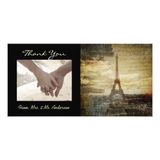 vintage scripts Paris Eiffel Tower Wedding Card
