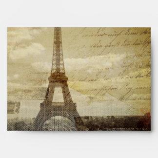 vintage scripts Paris Eiffel Tower Wedding Envelope