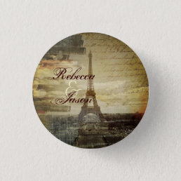 vintage scripts Paris Eiffel Tower Wedding favor Button