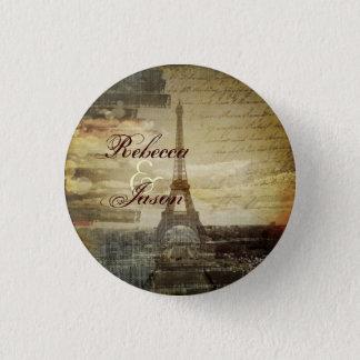 vintage scripts Paris Eiffel Tower Wedding favor Button