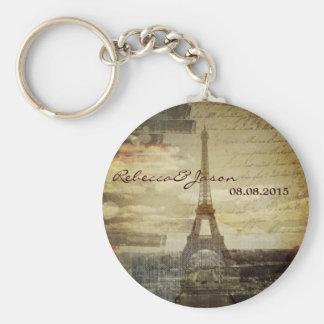 vintage scripts Paris Eiffel Tower Wedding favor Keychain