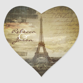 vintage scripts Paris Eiffel Tower Wedding Heart Sticker