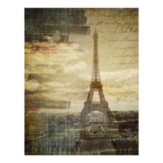 vintage scripts Paris Eiffel Tower Wedding Letterhead