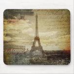vintage scripts Paris Eiffel Tower Wedding Mouse Pad