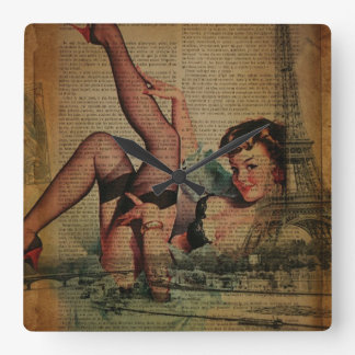 vintage scripts pin up girl paris fashion square wallclocks