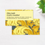 Vintage scroll Blue Gold Floral Pattern Art Business Card