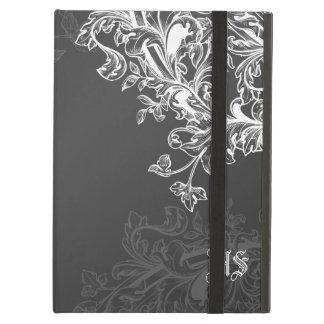 Vintage Scroll Custom Initials Black iPad Cover