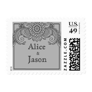 Vintage scroll design postage stamps