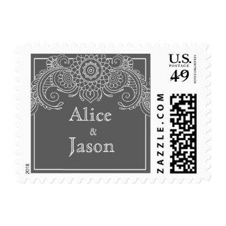 Vintage scroll design postage stamps-gray