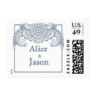 Vintage scroll design postage stamps-navy