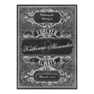 Vintage Scroll Engraving Chalkboard Wedding Invite