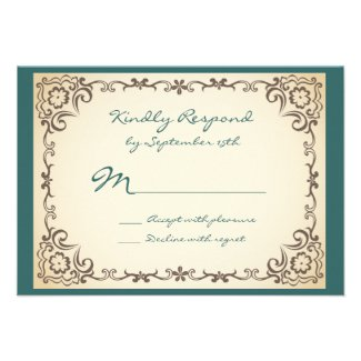 Vintage Scroll Frame Blue Tan Wedding RSVP Cards