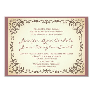 Vintage Scroll Frame Mauve Wedding Invitations