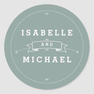 Vintage Scroll in Bride & Groom Wedding Sticker