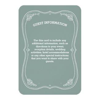 "Vintage Scroll in Green Wedding Guest Information 3.5"" X 5"" Invitation Card"