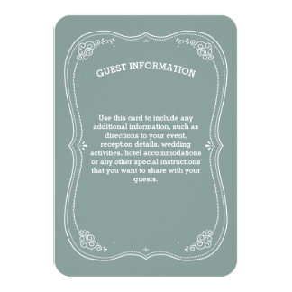 "Vintage Scroll in Green Wedding Guest Information 3.5"" X 5"" Invitation Card"