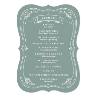 "Vintage Scroll in Green Wedding Program 5"" X 7"" Invitation Card"