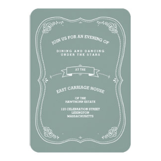 Vintage Scroll in Green Wedding Reception Card Invites