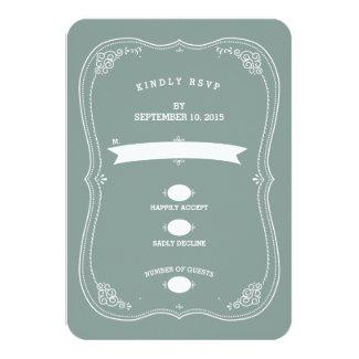 "Vintage Scroll in Green Wedding RSVP Response 3.5"" X 5"" Invitation Card"