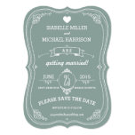 Vintage Scroll in Green Wedding Save the Date Card