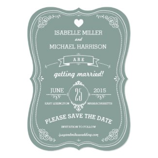 """Vintage Scroll in Green Wedding Save the Date 5"""" X 7"""" Invitation Card"""