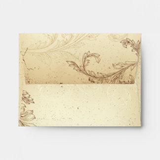 Vintage scroll leaf brown, beige wedding envelope