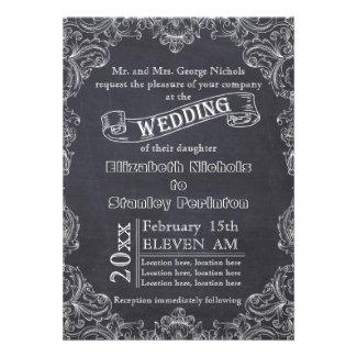Vintage scroll leaf frame and chalkboard wedding personalized invites