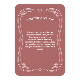 Vintage Scroll   Marsala Wedding Guest Information Card
