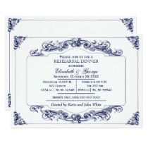 Vintage Scroll navy white Rehearsal Dinner Invite