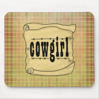 Vintage Scroll Paper Cowgirl Mousepad