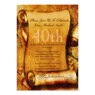 Vintage scroll parchment birthday PERSONALIZE Personalized Invites