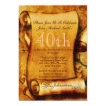 "Vintage scroll parchment birthday PERSONALIZE 5"" X 7"" Invitation Card"