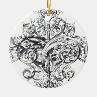 Vintage scroll typography design Double-Sided ceramic round christmas ornament
