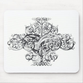 Vintage scroll typography design mouse mat
