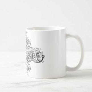 Vintage scroll typography design classic white coffee mug